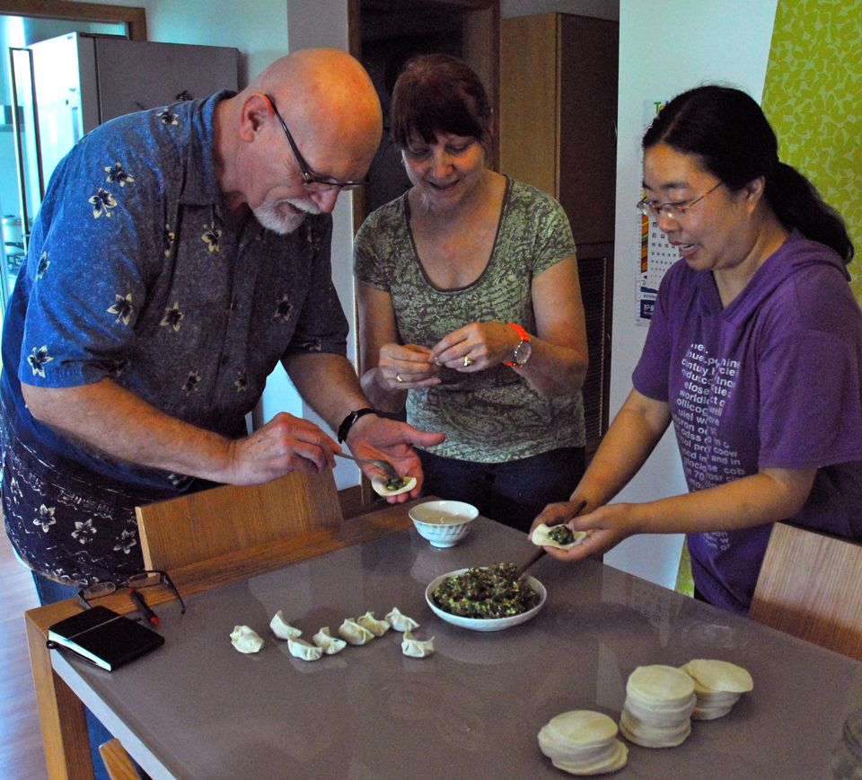 Wang Min showed Char and me how to stuff and seal dumplings.  This was quite interesting and a lot of fun.  Plus, we got to eat them as well.
