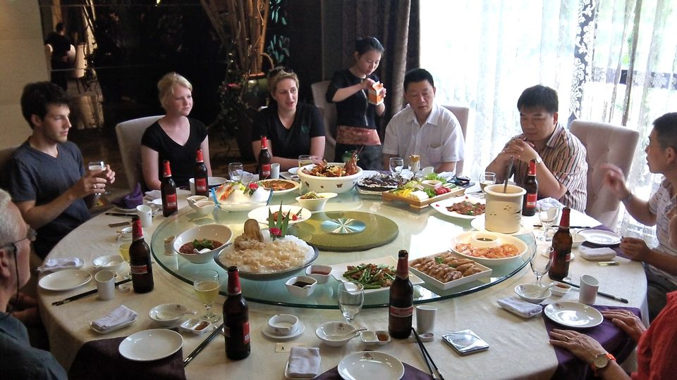 We tried to count the number on entres that were served during our lunch.  As best as we could, we counted between 22 and 25.  By the time I took this photo, many of the dishes had been removed.  More were on the way.  In the common Chinese restaurant style, the food is placed on a turntable and then rotated to allow all diners to choose their fare.